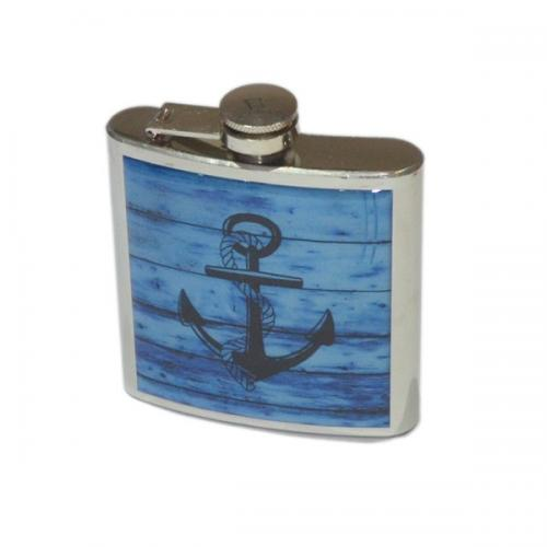 6oz Nautical Driftwood Anchor Personalised Hip Flask