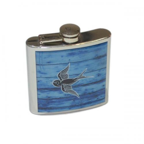6oz Driftwood Swallow Personalised Hip Flask