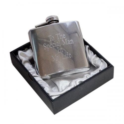 "4oz ""To the Special Man in my Life\"" Engraved Personalised Hip Flask"