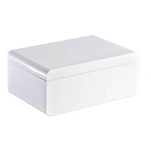 Adorini Carrara Deluxe High Gloss White Cigar Humidor - Large - 150 Capacity