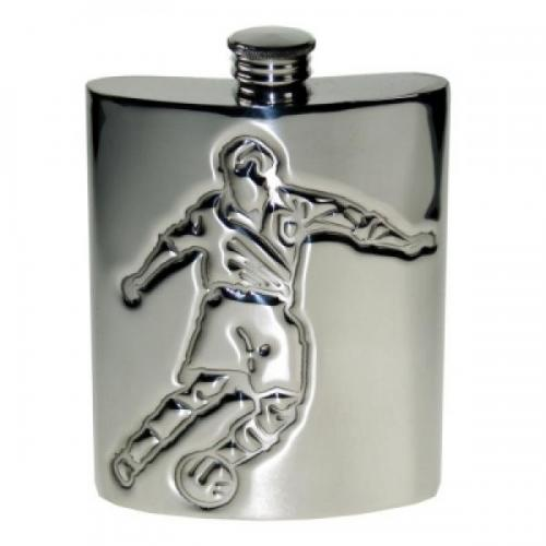 6oz Pewter Embossed Footballer Personalised Hip Flask