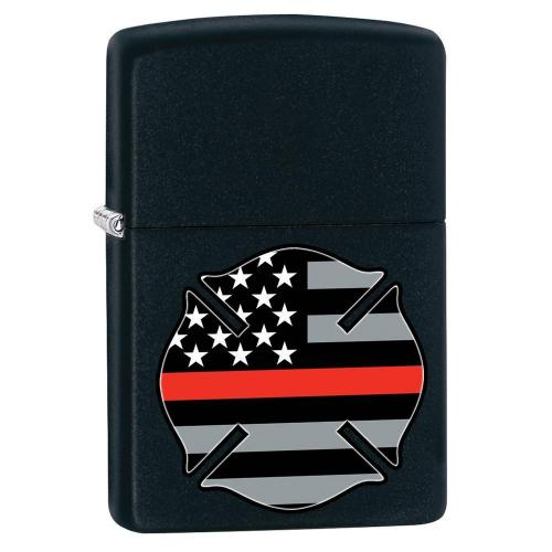 Zippo - Flag Red Line Design - Matte Black - Windproof Lighter