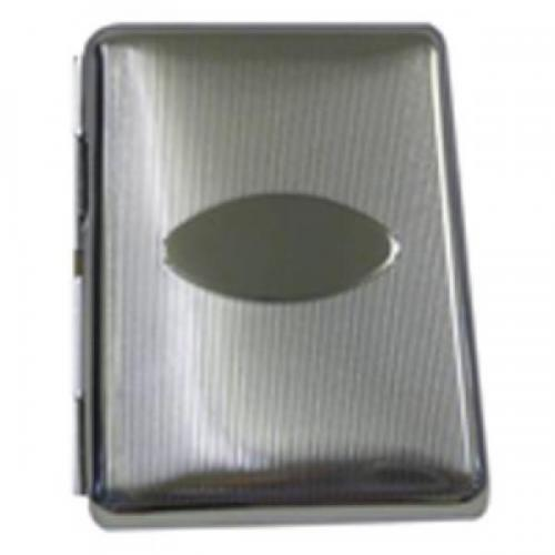 Oval Chrome Diagonal Lines Personalised Cigarette Case