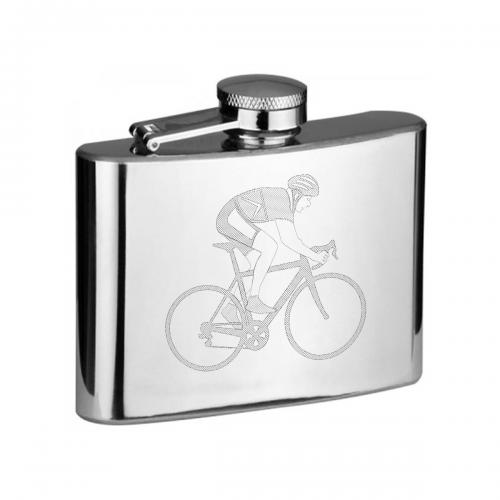 Cyclist on Bike 4oz Hip Flask