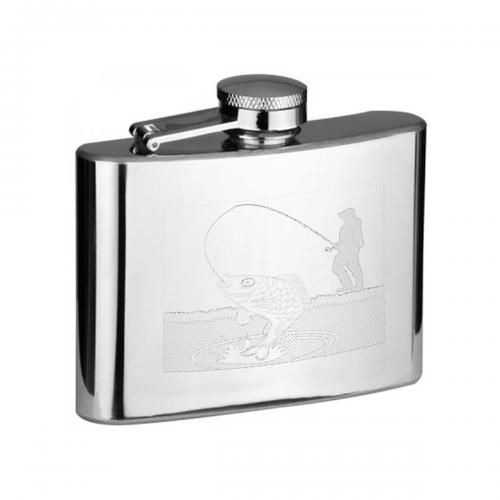 Fisherman with Rod Catching a Fish 4oz Hip Flask