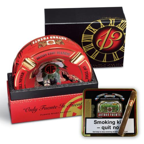 Arturo Fuente 4 Cigar Rest Ashtray and Cubanitos Sampler - Red Ashtray