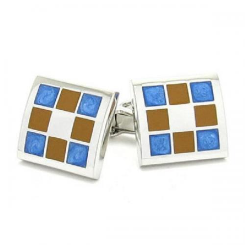 Brown & Blue Square Cufflinks