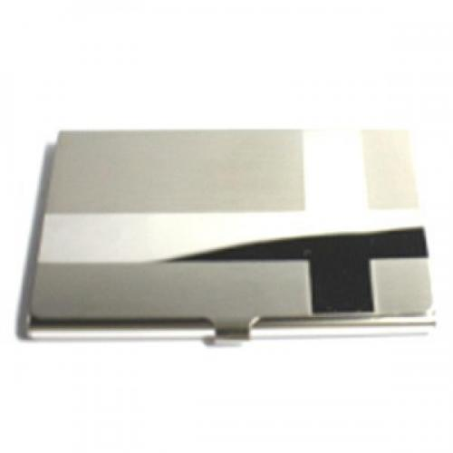 High Polished and Matte Cross Personalised Business Card Holder