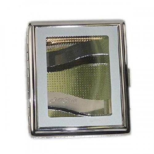 Square Windowed Nickel Double Sided Cigarette Case