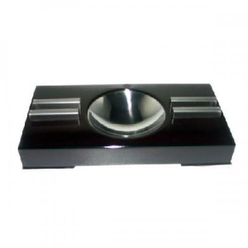 Polished Cigar Ashtray With Chrome Feet - Dark Mahogany