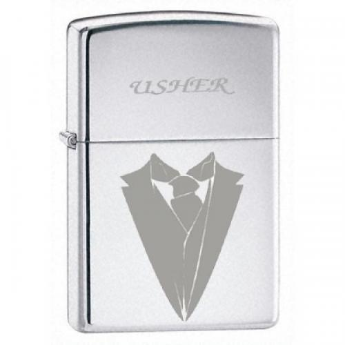 Zippo Wedding Cravat Lighter - High Polish Chrome - Usher