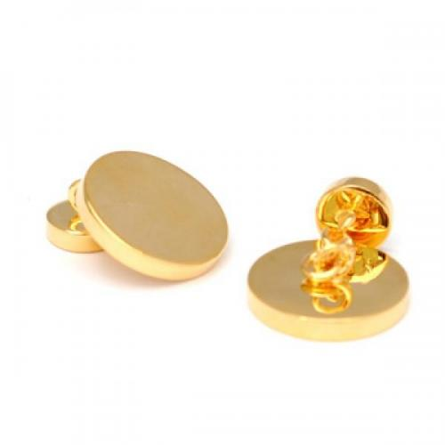 Round Chain Style Gold Plated Personalised Cufflinks