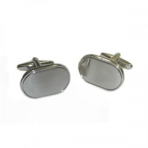 Rectangular Silver Brushed Personalised Cufflinks