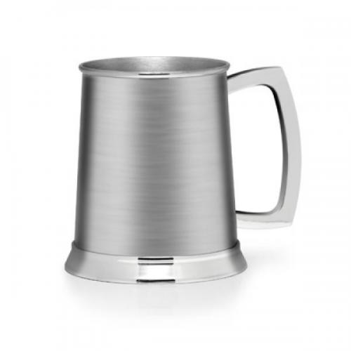 Brushed Stainless Steel Personalised Pint Tankard