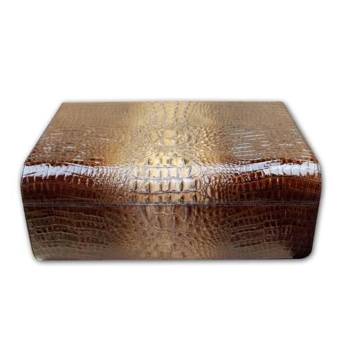 Gentili Pelle Humidor - Brown Leather Crocodile & Ebony – 50 Cigars Capacity