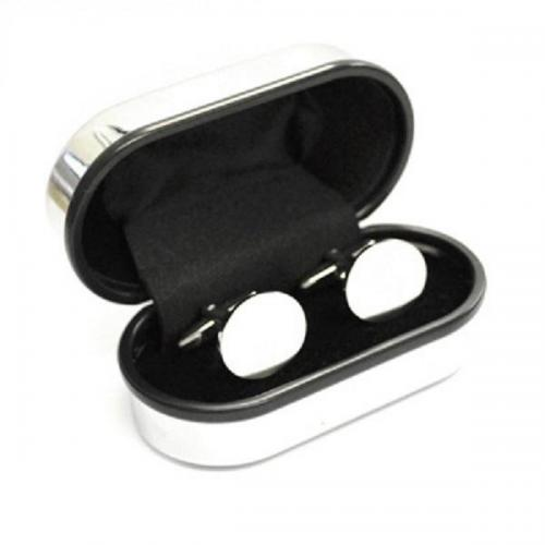 Round Personalised Cufflinks and Chrome Box