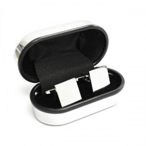 Square Personalised Cufflinks and Chrome Box
