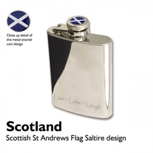 3oz St Andrews Saltire Personalised Hip Flask