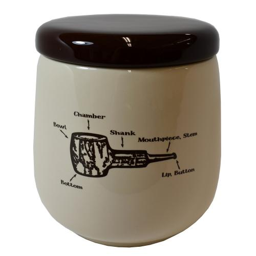 Talamona Beige & Brown Ceramic Tobacco Jar With Rubber Lid