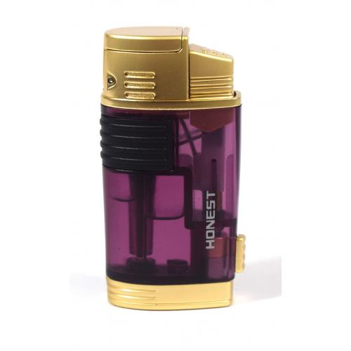 Honest Cromer- Twin Jet Lighter with Punch Cutter - Purple (HON98)