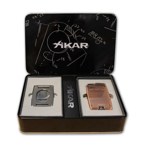 Xikar Ultra Combo - Vintage Bronze Ultra Lighter & Gunmetal Ultra Slim Cutter