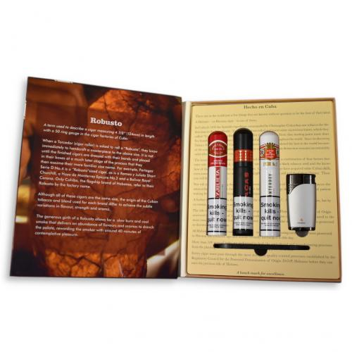 Robusto Book Habanos Gift Box - 3 Cigars, Cutter & Lighter