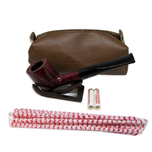 Molina Burgundy Straight Pipe with Case and Accessories
