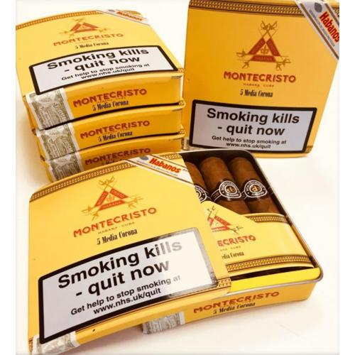 Montecristo Media Corona Cigar – Slide Lid Tin of 5