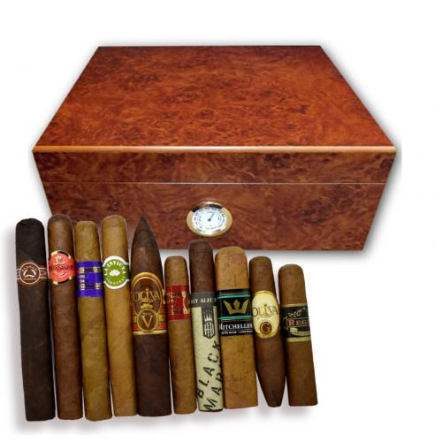 Oxford Dark Burl Humidor and New World Cigar Selection Sampler