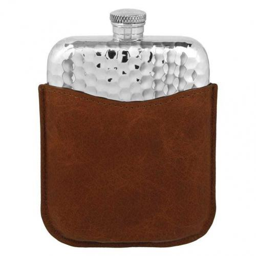 6oz Pewter Hip Flask With Pouch - PLF03