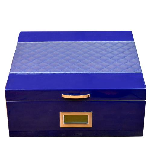 Prestige Hampton Humidor with Diamond Stitched Leather Top - Blue – 200 Capacity