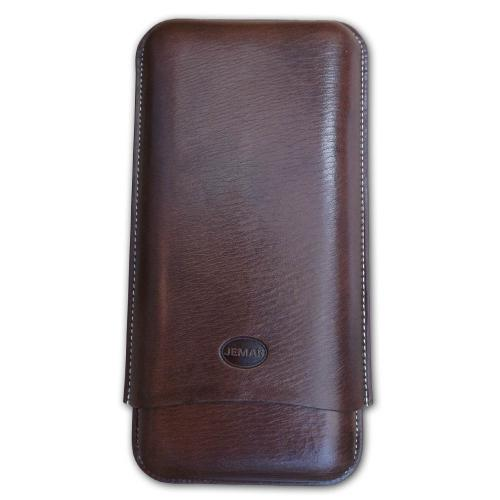 Jemar Leather Cigar Case – Churchill Size (up to 70 rg) – Three Cigars – Brown