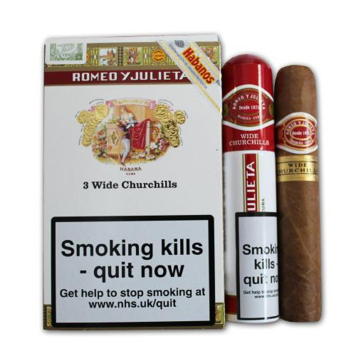 Romeo y Julieta Wide Churchill Tubed Cigar - Pack of 3