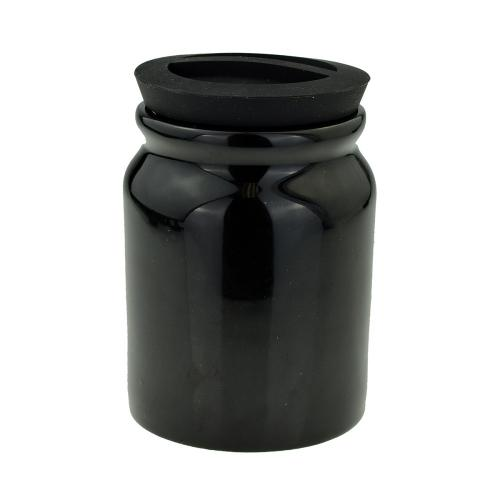 Black Ceramic Tobacco Jar With Rubber Lid