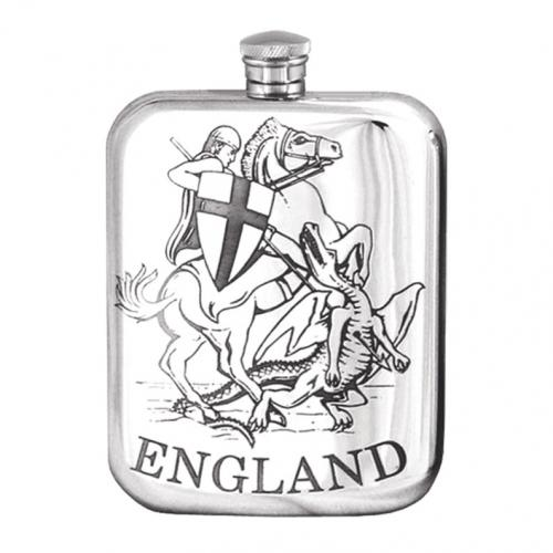6oz Pewter Hip Flask George & the Dragon - TSF680