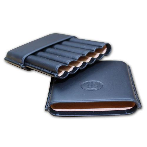 Leather FB Leather Cigarillo Case – Fits 6 Cigars - Black