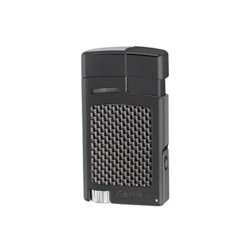 Xikar Forte Single Jet Cigar Lighter with Punch – Black and Carbon Fibre Effect