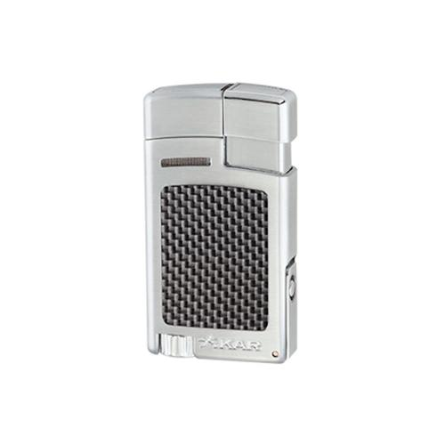 Xikar Forte Single Jet Cigar Lighter with Punch – Silver and Carbon Fibre Effect