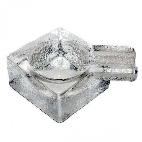 Square With Single Rest Cigar Ashtray - Clear Glass