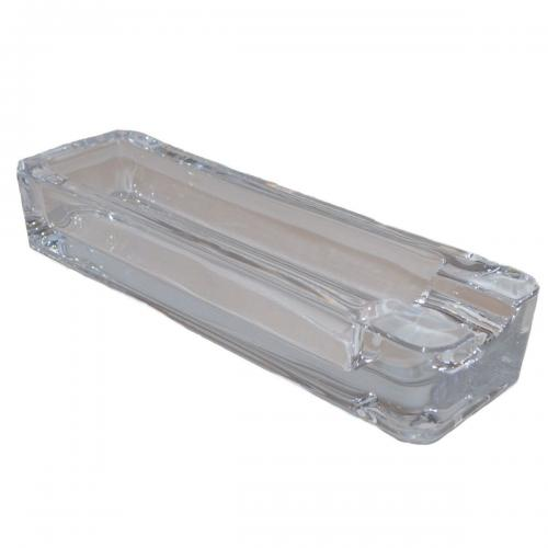 Rectangle With Single Rest Cigar Ashtray - Clear Glass