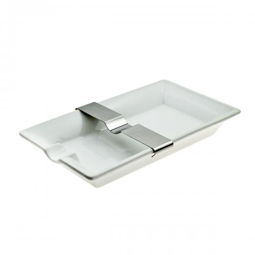 White Cigar Ashtray with Movable Rest