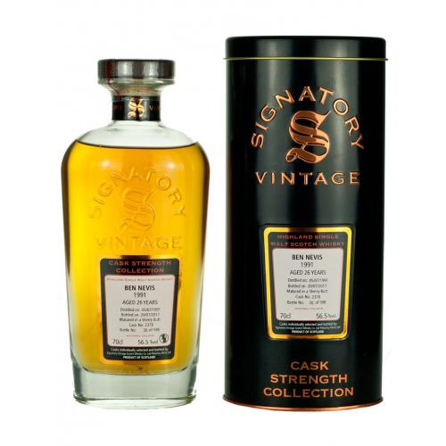 Ben Nevis 26 Year Old 1991 Signatory Vintage Single Malt Whisky - 70cl 56.5%
