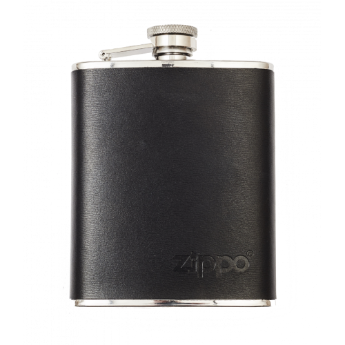 Zippo Stainless Steel 6oz Hip Flask - Leather Wrapped
