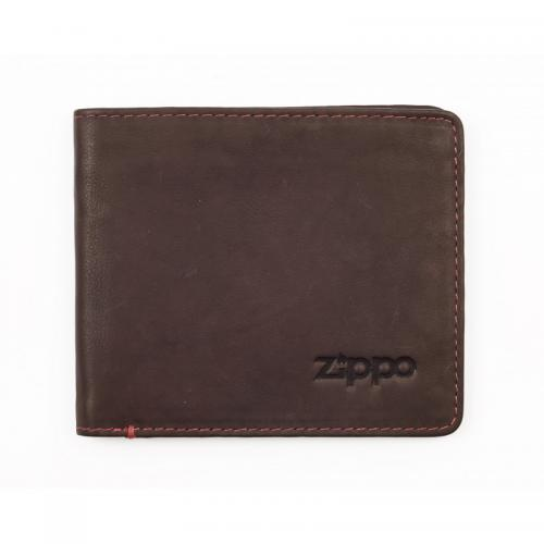 Zippo Leather Bi-Fold Wallet With Coin Compartment - Brown