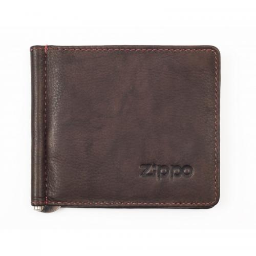 Zippo Leather Bi-Fold Money Clip - Brown
