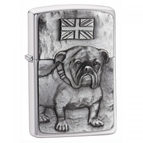 Zippo - Bulldog Emblem Brushed Chrome - Windproof Lighter