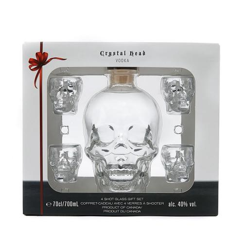 Christmas Gift - Crystal Skull Head Gift Pack with 4 Shot Glasses Gift Pack