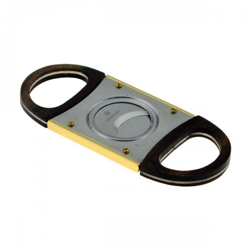 Double Blade Guillotine Cigar Cutter - Black and Gold
