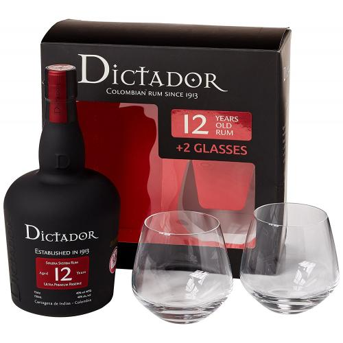 JANUARY SALE - Dictador 12 Year Old Gift Pack - 70cl Bottle with Glasses