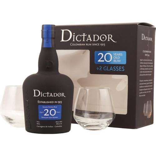 Dictador 20 Year Old Gift Pack - 70cl Bottle with Glasses